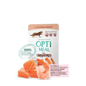 OPTIMEAL GF Cat Salmon & Shrims white sauce 85gr (pouch)