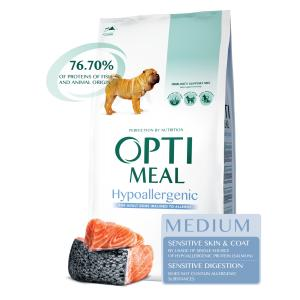OptiMeal Medium Adult Dog Salmon Hipoalergēniskā formula ar lasi 12 kg